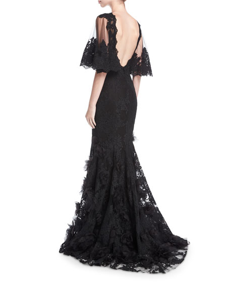 Floral Lace Flutter-Sleeve Gown