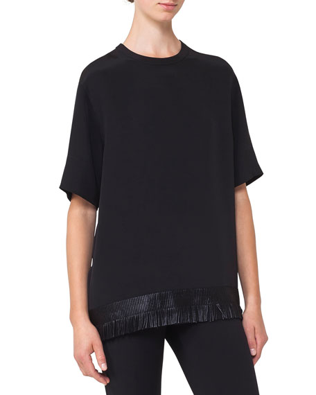 Akris Crewneck Elbow-Sleeve Silk Blouse w/ Fringe Hem
