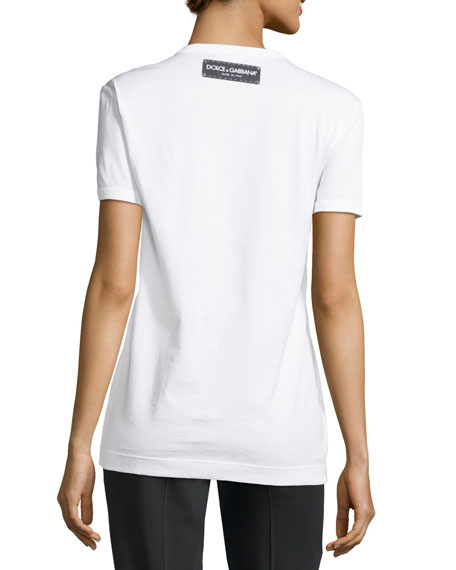 Short-Sleeve Jersey T-Shirt with Tag Heart Applique