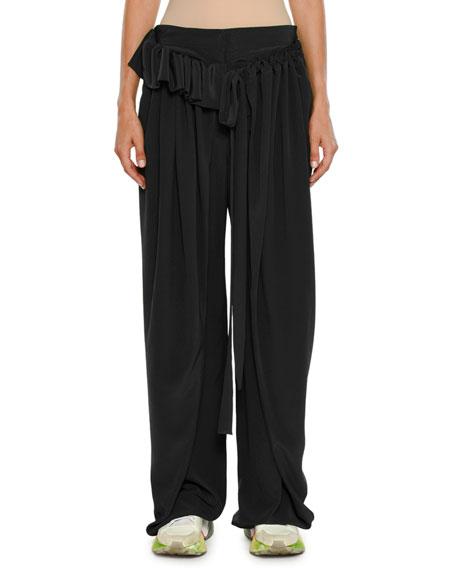 Apron-Front Wide-Leg Silk Crepe De Chine Pants in Black