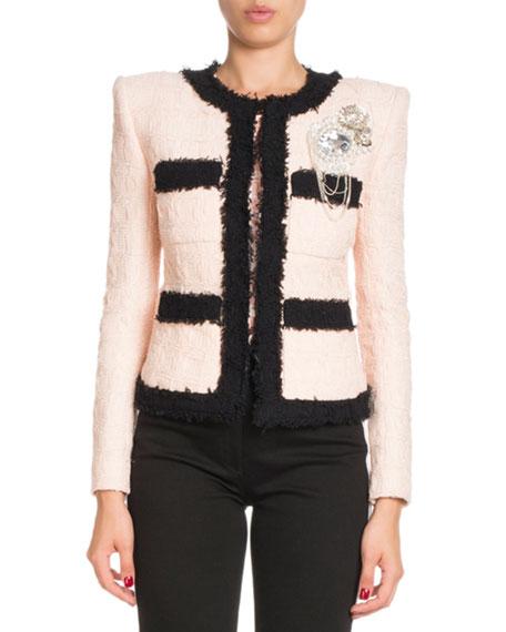 Bicolor Tweed Jacket with Brooch