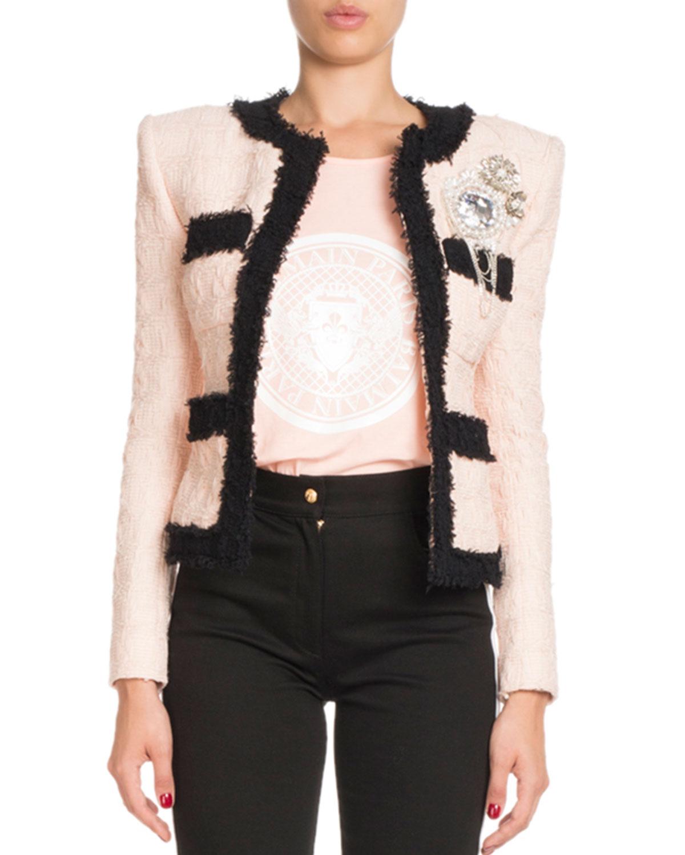 41c95d16f65 Balmain Bicolor Tweed Jacket with Brooch
