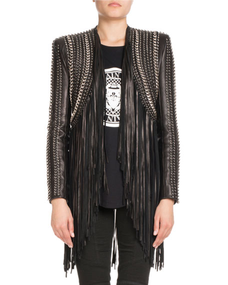 Crop Grommets Lamb Leather Jacket w/ Long Fringe Trim