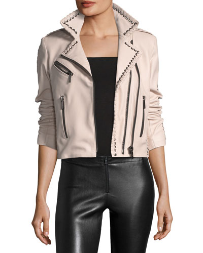 Vynil Whipstitch Leather Moto Jacket