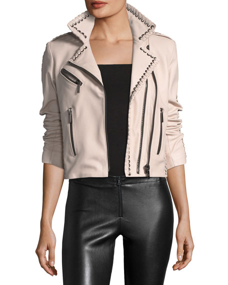 Nour Hammour Vynil Whipstitch Leather Moto Jacket