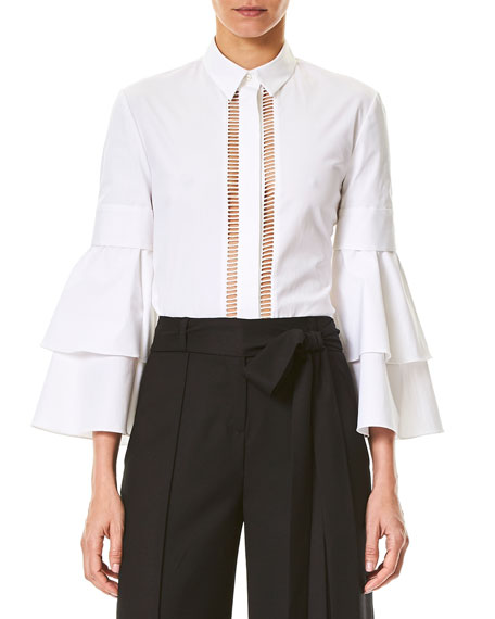 Carolina Herrera Ladder-Stitch Ruffle-Sleeve Blouse