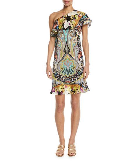 Etro Neon Paisley Floral Ruffle One-Shoulder Dress