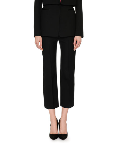 Alexander McQueen High-Waist Wool-Silk Cropped Tux Pants and