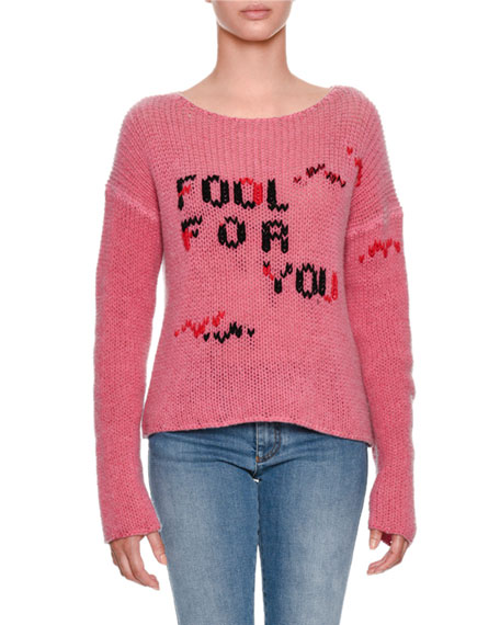 Ermanno Scervino Fool For You Intarsia Long-Sleeve Cashmere