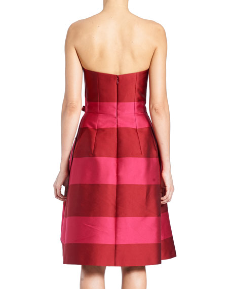Strapless Wide-Stripe Cocktail Dress