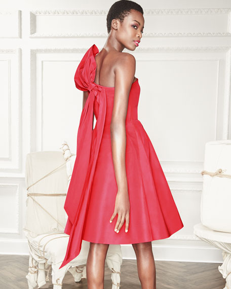 One-Shoulder Cocktail Dress with Back Bow Detail