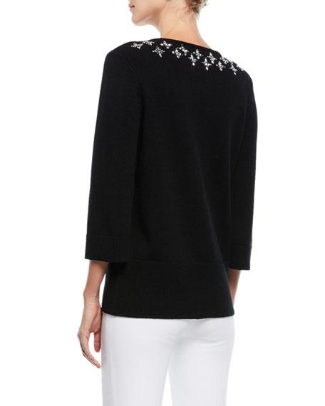 V-Neck Embellished Cashmere Tunic Top