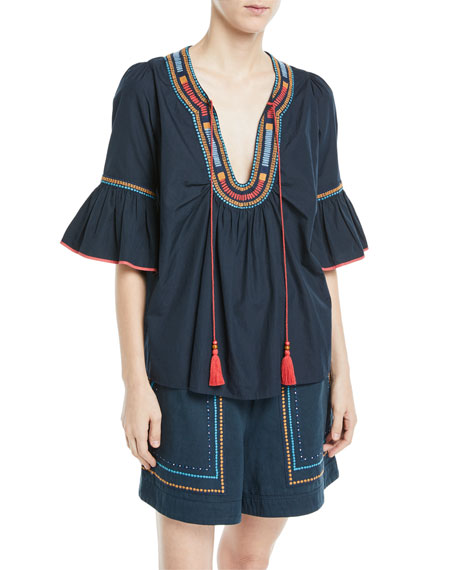 Half-Sleeve Embroidered Cotton Tunic Blouse