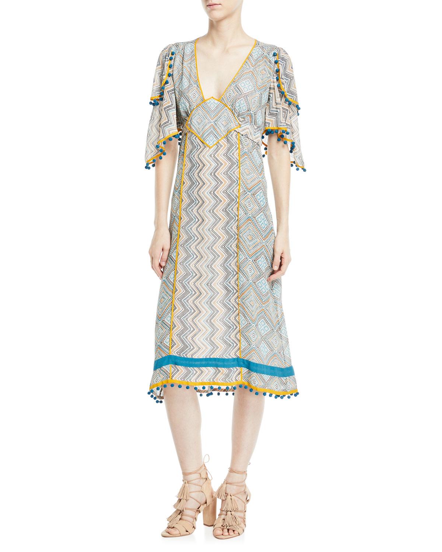 632cf258998 Talitha Collection Deep-V Kimono-Sleeve Printed A-Line Midi Dress ...