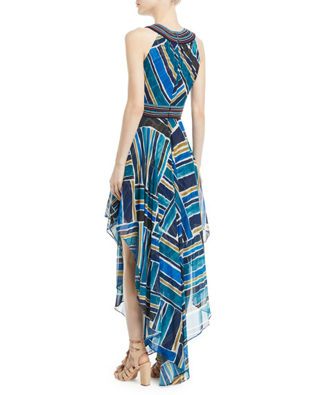 Talitha Collection Sleeveless Halter Painted-Print Dress with Handkerchief Hem