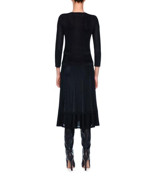 Crewneck Long-Sleeve Midi Knit Dress