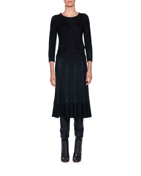 Agnona Crewneck Long-Sleeve Midi Knit Dress