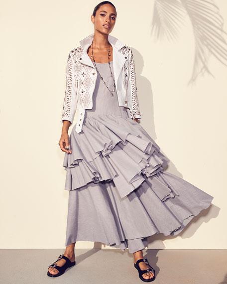 Sleeveless Tiered Ruffle Striped Cotton Tank Dress