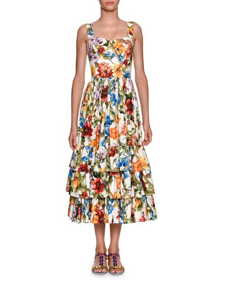 Dolce & Gabbana Sleeveless Bamboo Climbing Flowers-Print Midi