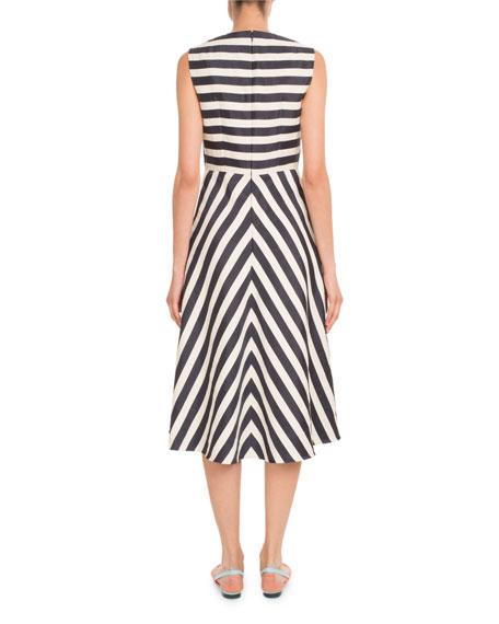 Sleeveless Striped A-line Tea-Length Cocktail Dress