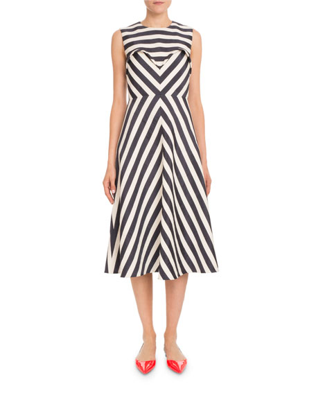 Delpozo Sleeveless Striped A-line Tea-Length Cocktail Dress
