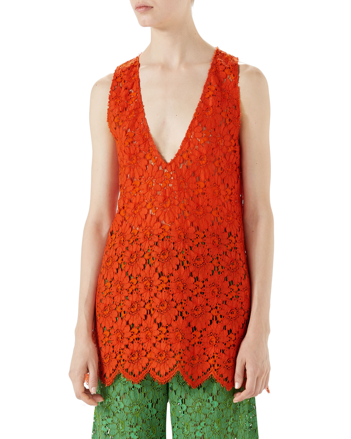 Gucci Floral-Lace Sleeveless Lace Top