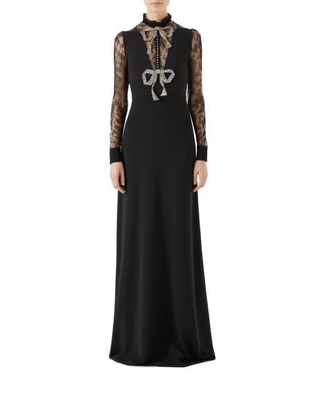 Gucci Long-Sleeve Stretch-Jersey Gown w/ Lace & Crystal