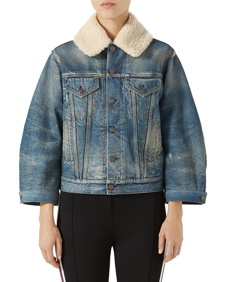 Gucci Stone-Washed Denim Jacket with Fur Cuffs and