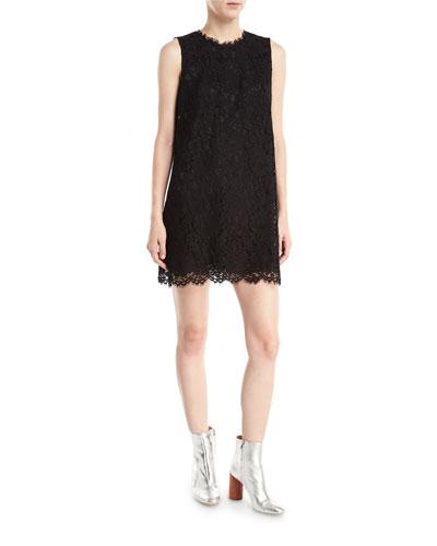 Sleeveless Lace Shift Mini Dress