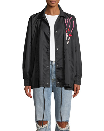 Oversized Snap-Front Nylon Coat w/ Lipstick Embroidered Patch