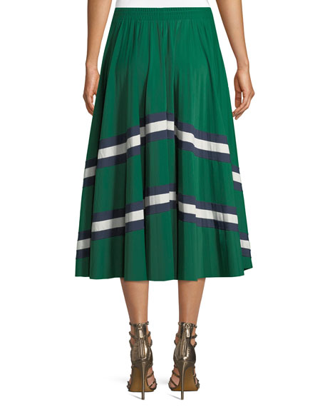 Jersey Lycra® Plisse Midi Skirt with Chevron Lace