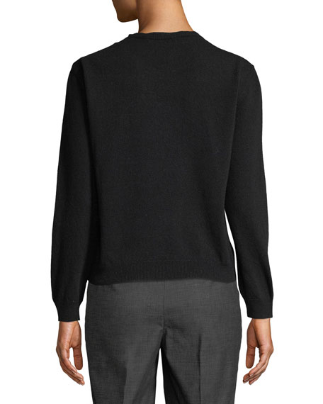 Wool-Cashmere Crewneck Logo Pullover Sweater