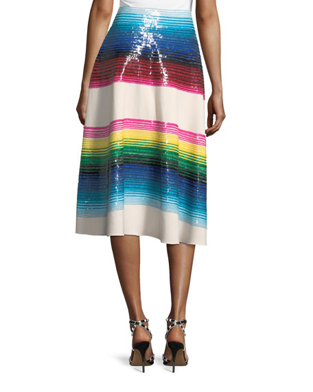 Striped Paillette Wool Midi Skirt