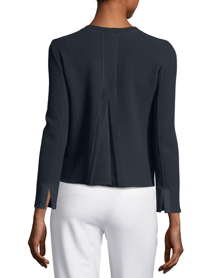 Zip-Front Long-Sleeve Pleated-Back Knit Jacket
