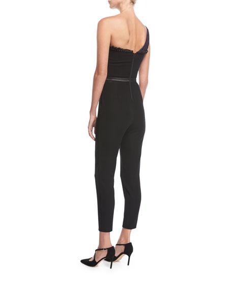 One-Shoulder Skinny Crepe Jumpsuit