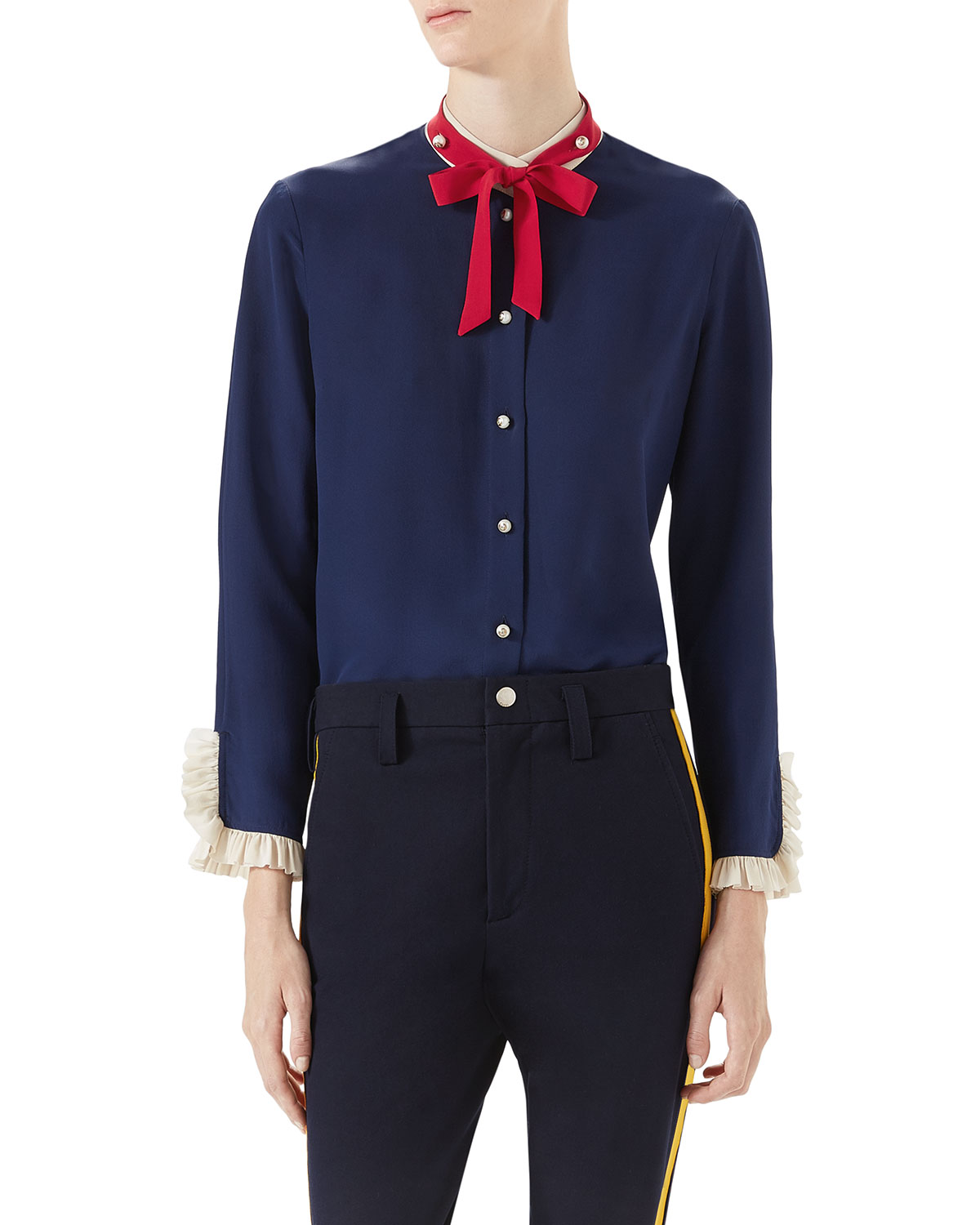 942228038592cb Gucci Silk Shirt with Neck Tie