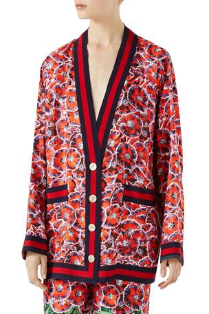 Gucci Garden-Print Silk Twill Long-Sleeve Pajama Top