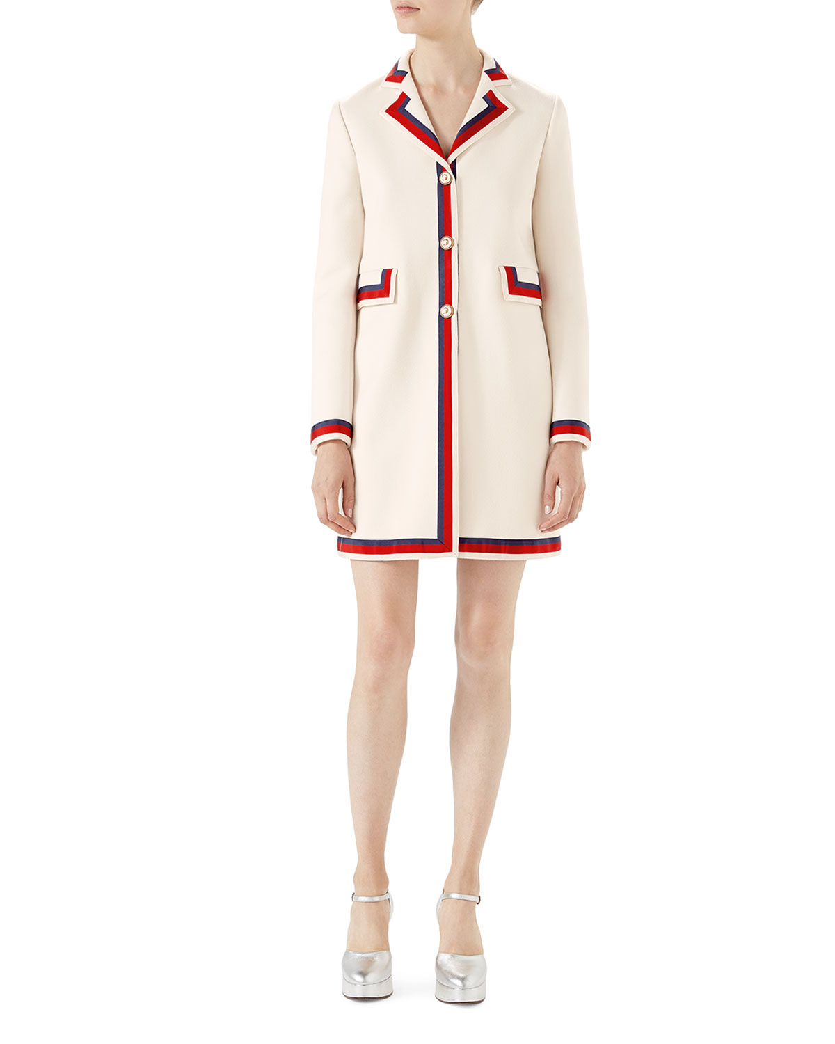 d046fdcd2 Gucci Wool Coat with Sylvie Web   Neiman Marcus