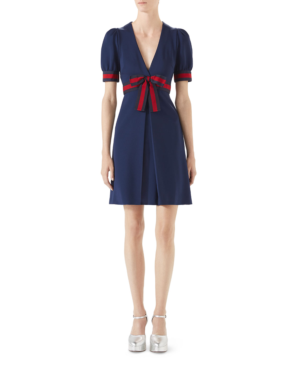 a952a22f829 Gucci Jersey V-Neck Dress with Web