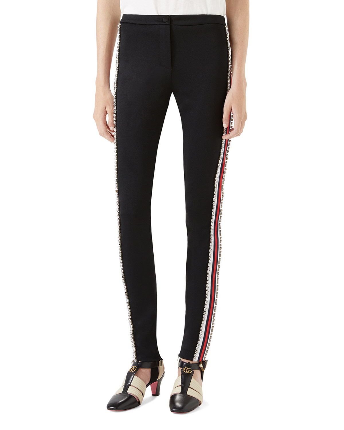 1e16d6f0d68 Gucci Technical Jersey Stirrup Legging with Crystals