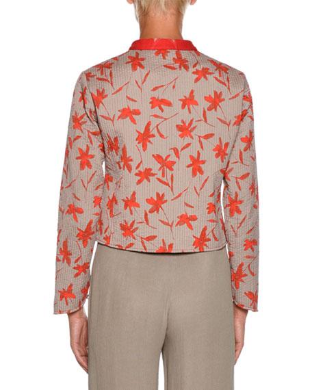 Giorgio Armani Mandarin-Collar Floral-Print Short Jacket