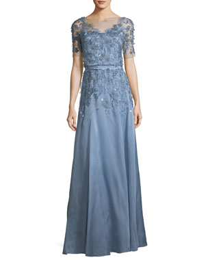 356b28699a3f Jenny Packham Short-Sleeve 3-D Floral Embroidered Evening Gown