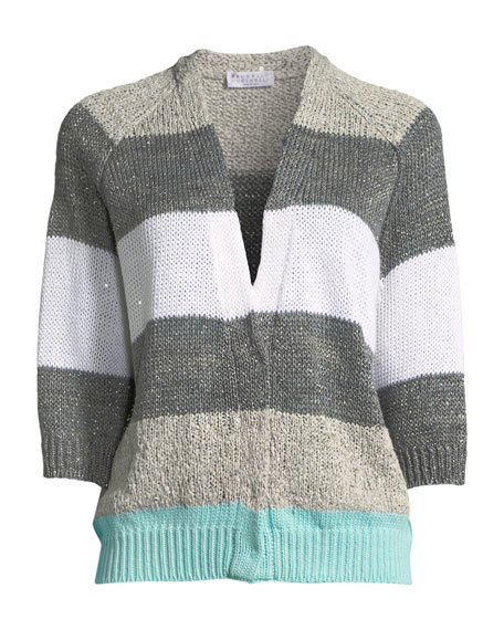Coated Rugby-Stripe Cardigan with Metallic