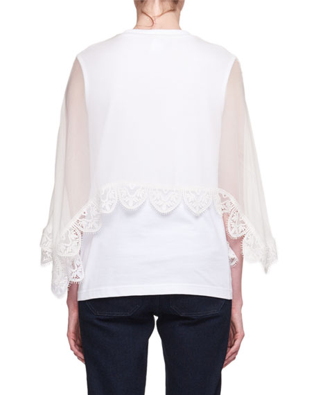 Short-Sleeve Lace-Cape Jersey T-Shirt