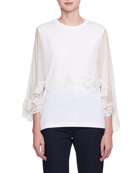 Chloe Short-Sleeve Lace-Cape Jersey T-Shirt