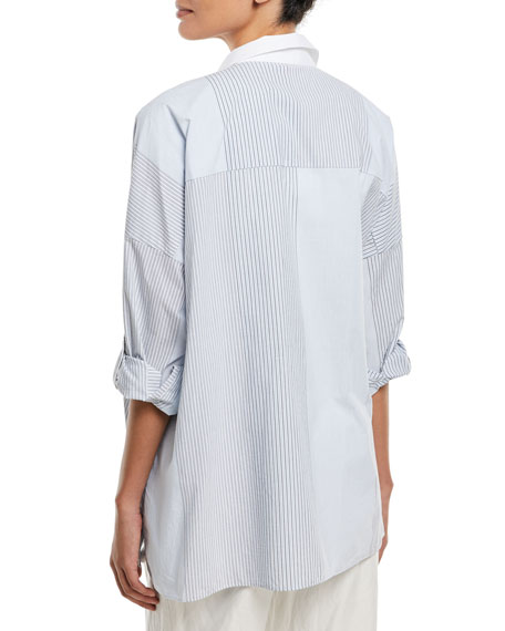 Cotton Variegated-Stripe Button-Down Blouse