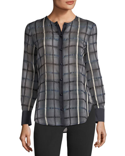 Button-Front Long-Sleeve Checkered Blouse