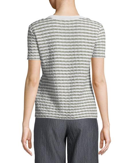 Round-Neck Short-Sleeve Striped Jersey Top