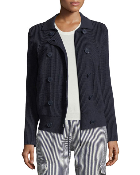 Button-Front Cable-Knit Sweater Jacket