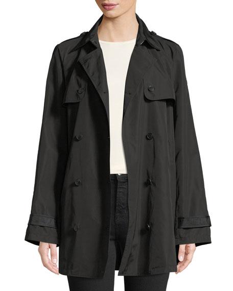 Zip-Front Hooded Peplum Raincoat